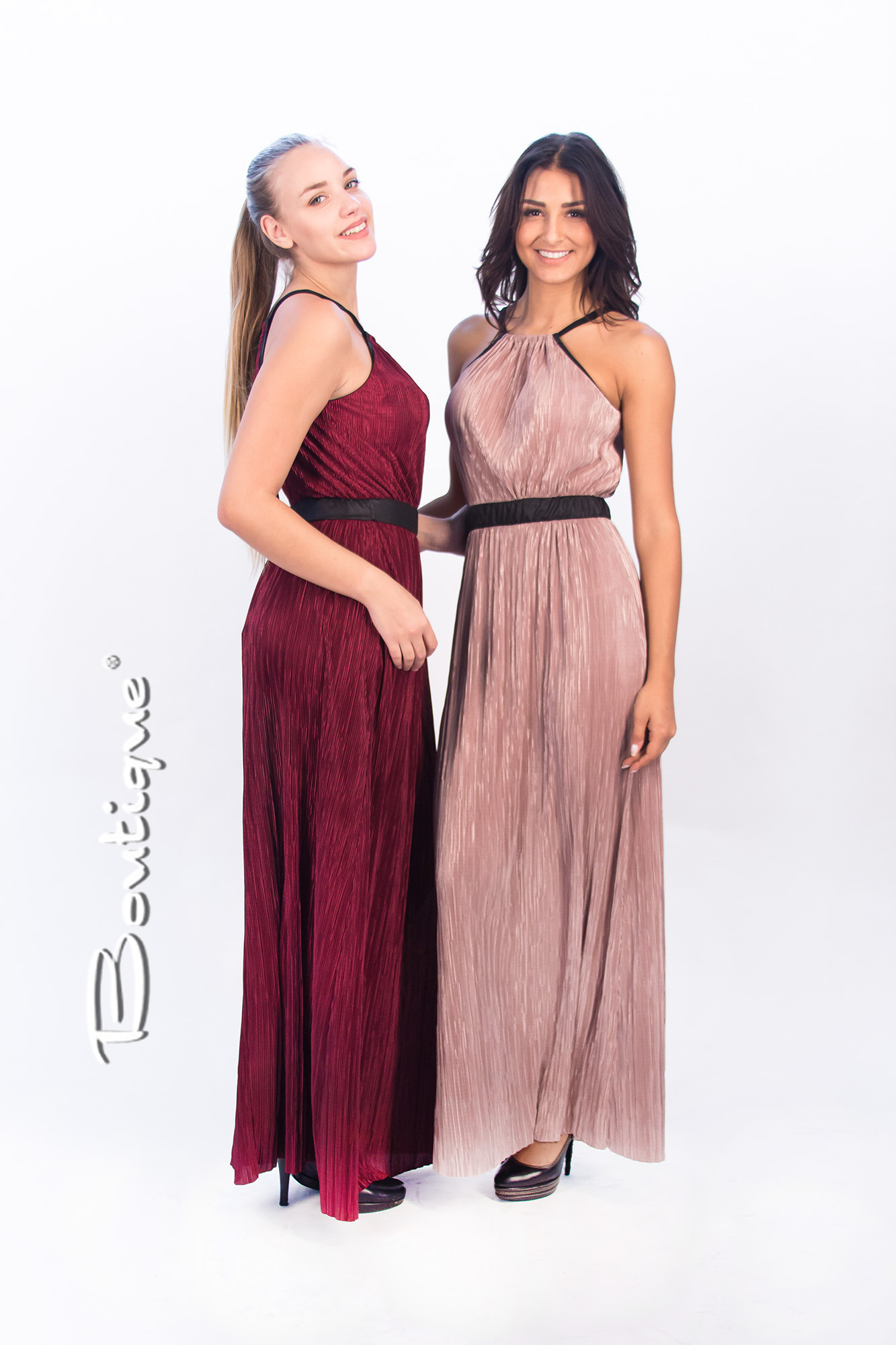 530bcba4e34c Φόρεμα μακρύ αμάνικο πλισέ με δερμάτινη ζώνη - M282 - boutiquefashion.gr