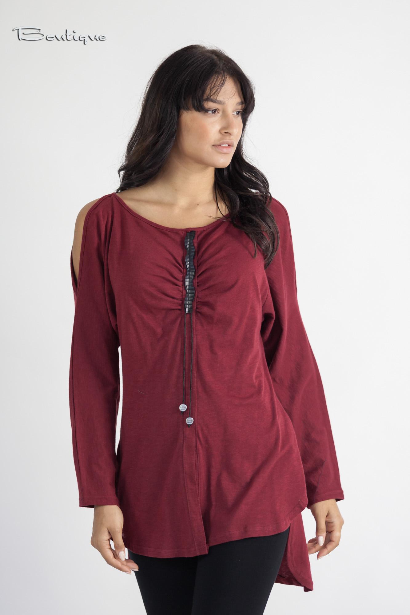 40f9ff7440 Μπλούζα Μ.Μ στυλ πουκάμισο με δερμάτινη λεπτομέρεια - 3037 ...