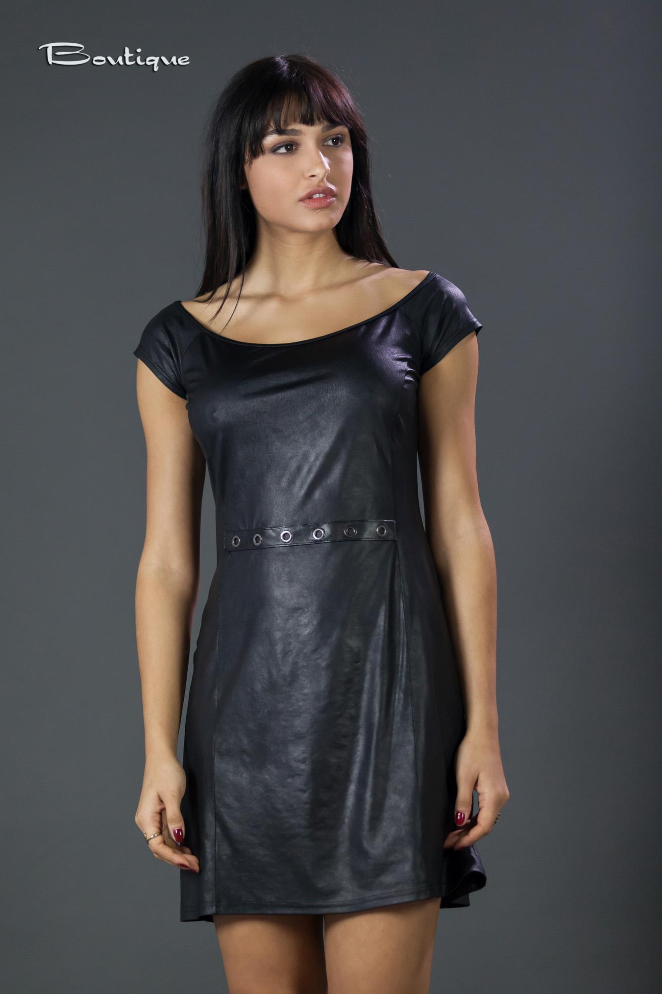 14f8cd498a7 Φόρεμα αμάνικο σε δερμάτινη και με τρέσα με τρουκ - M464 ...